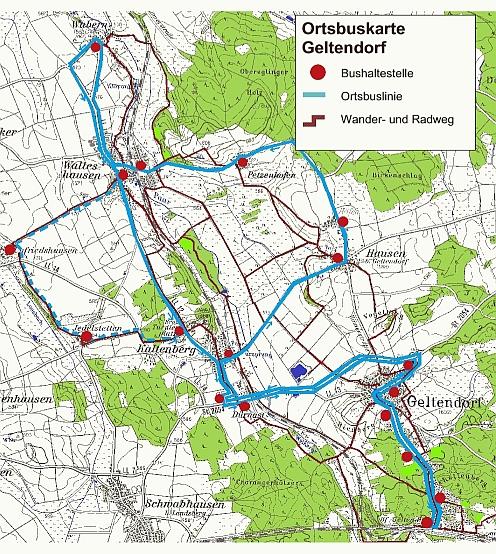 Karte Ortsbus mit Haltestellen